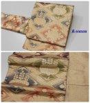 「袋帯 中古品」リサイクル袋帯 六通柄 佐賀錦 松皮菱 フォーマル袋帯 仕立て上がり 中古袋帯 金代 a2m1「中古」わけあり