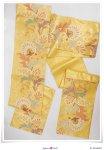 リサイクル 袋帯 正絹 未使用品 中古袋帯 金黄色地 草花柄 a2m1m5「中古」六通柄 仕立て上がり 新古品 フォーマル帯 送料無料 振袖帯 成人式